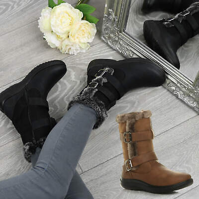 Womens Ladies Low Mid Wedge Grip Sole Fur Lined Comfort Winter Ankle Boots Size