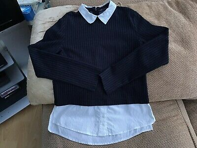 M&S Ladies/Girls Size 10 Navy Blouse Shirt 2 Piece Never Worn In Great Condition