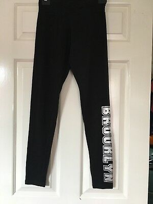 Black Jogging Bottoms/Leggings With Brooklyn Printed On Side-New Look-12-13 Year