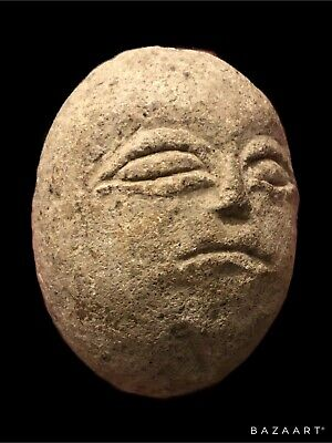 Small Very Early Carved Stone Head Possibly Celtic Or Iron Age