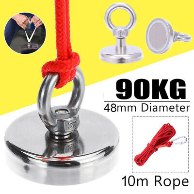 Recovery Fishing Magnet 90kg Pull Force Neodymium Strong Powerful 48mm Magnet UG