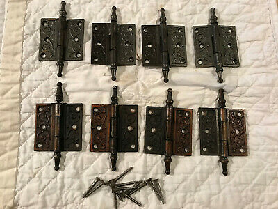 "4 Victorian Cast Iron 1890's 2 1/2"" by 2 1/2"" Steeple Top Hinges, Free S/H"