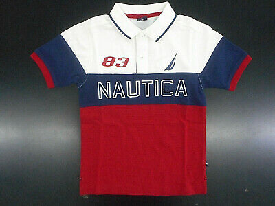 Boys Nautica $37.50 Red Rouge, Navy & Ivory Short Sleeve Polo Shirt Size 6