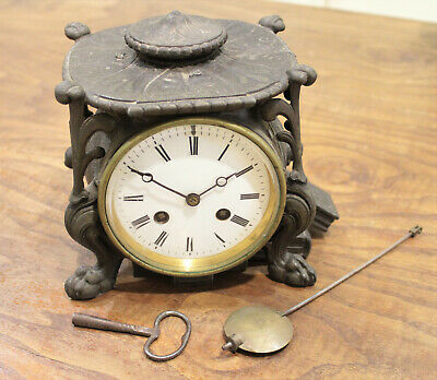 Beautiful Antique French Striking Wall Clock with Pendulum & Dragon feets