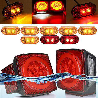 1Pair LED Submersible Square Lights Trailer Under Tail Brake Boat + Side Marker