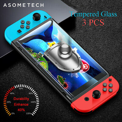 3 Packs PREMIUM TEMPERED GLASS Screen Protector Cover For Nintendo Switch Consol