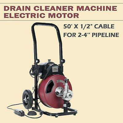 Drain Auger Pipe Cleaner Machine Plumbing Cleaning Machine Flexible 50FT 1/2''