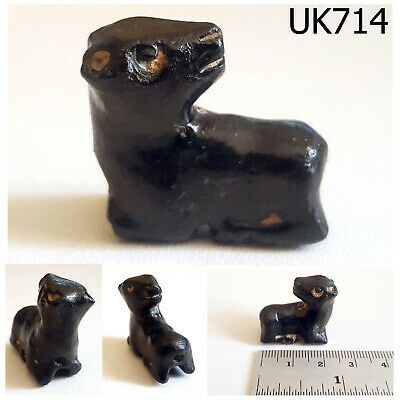 Old Rare Near Eastern Ram Animal Black Stone Bead #UK714a