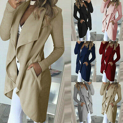 Womens Waterfall Cardigan Ladies Slim Fit Long Sleeve Blazer Coat Jacket Tops_OQ