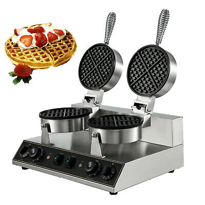 Double-head Commercial Round Waffle Maker Belgian Nonstick Electric S.Steel 110V