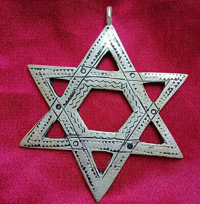 Extremely Ancient Jewish David SILVER Color AMULET PENDANT Decorate Style Viking