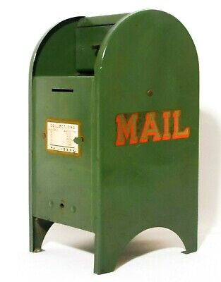 Mid 20Th C Vint All American Dark Green Pressed Steel Decaled Mail Box Toy Bank