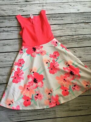 Justice Girls HOT PINK Floral Sleeveless Dress Size 12