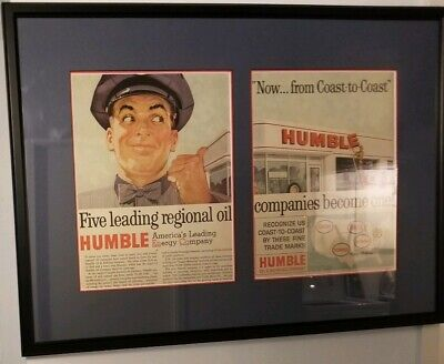 "Humble Oil Double Matted Print 1960's promo ad. of merger framed glass 29""X20.5"""