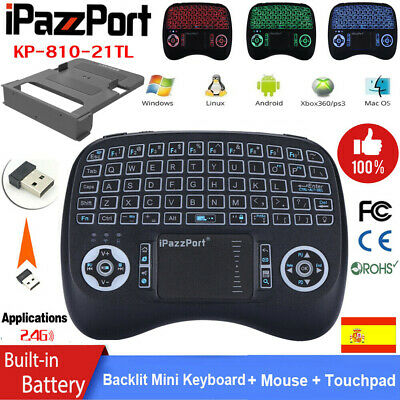 iPazzPort 2.4G Mini Wireless Keyboard Colorful Backlight Touchpad USB Connected