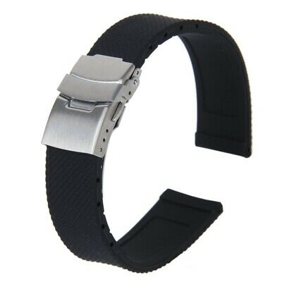 Watch Bands Sport Black Silicone Rubber Watch Strap Deployment Buckle Water H9O2