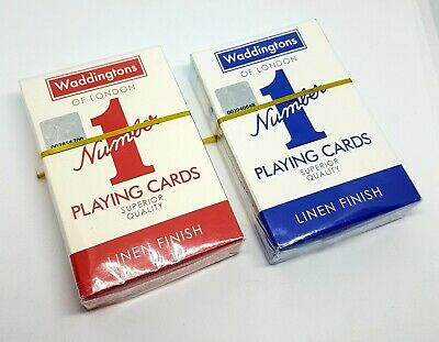 2 x Original Waddingtons No.1 Playing Cards Security Sealed by W.P.CARD Poker