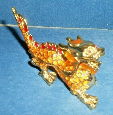 Enamel Dragon Hinged Trinket Box Bejeweled Eyes and Body