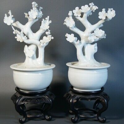 Antique Chinese White Glaze  Porcelain Dehua Blanc de Chine Planter Trees Qing