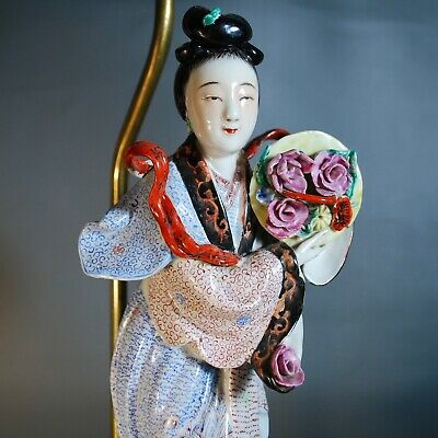 Antique Chinese Porcelain Figure Lamp, Famille rose, Late Qing to Republic