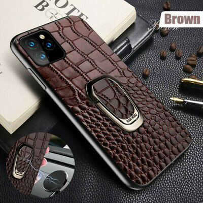 Genuine Crocodile Leather Case For iPhone 11 XS Max X Magnetic Ring Stand Cover