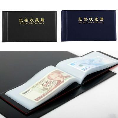 Leather Paper Money Collection Album Pockets Bill Notes Stamps Book Holder