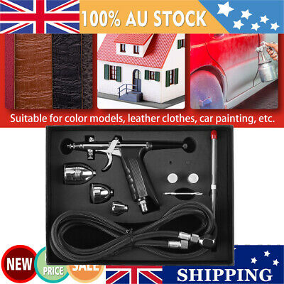 Air Brush Compressor Airbrush Spray Gun Dual Action 0.3/0.5/0.8mm Nozzles Cup AU