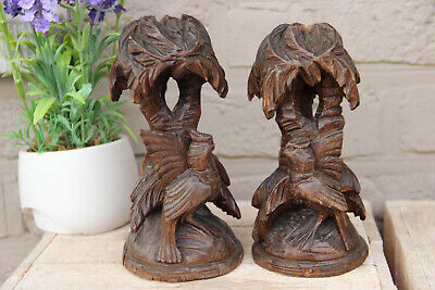 Antique German Black forest Candle holder Bird figurine wood carved