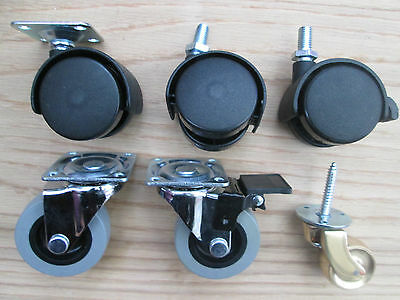 1 x SWIVEL CASTOR WHEELS CABINET CHAIR FURNITURE TROLLEY TABLE CASTERS