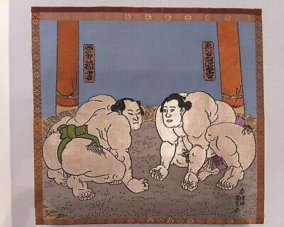 Rare Vintage Japanese Hand Embroidered Silk Art Picture Sumo Wrestlers Signed