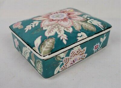 Vintage Chinese Porcelain Qianlong Mark Floral Painted Covered Box