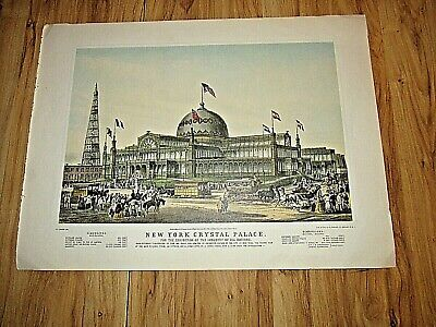 "1978 Vintage /""NYC NEW YORK CRYSTAL PALACE/"" CURRIER /& IVES COLOR Art Lithograph"