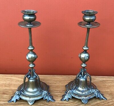 Pair of Victorian Brass Aesthetic Movement Candlesticks with Insect Decoration