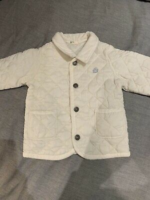 United Colors Of Benetton Baby Girls White Quilted Coat Age 9-12 Months
