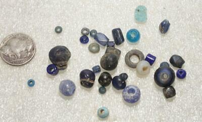 ONLY A FEW LEFT several beautiful mostly blue glass beads celtic 1200 BC