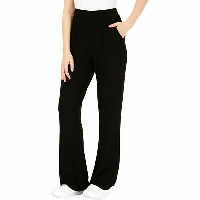GUESS Women's Opal High-Waist Relaxed Fit Flare Leg Pull-On Pants Black Large
