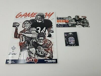 2019 NEW ORLEANS SAINTS vs CHICAGO BEARS 10/20/19 GAME DAY PIN & Program PAYON
