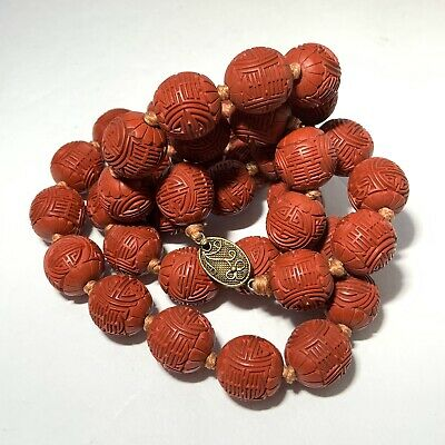 VINTAGE Carved CINNABAR BEAD Necklace Knotted Red SILVER CLASP Shoji Longevity