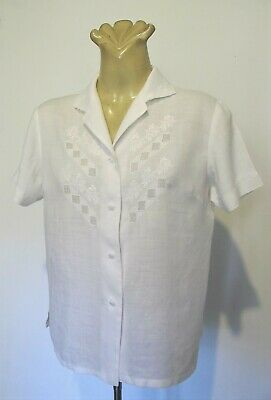 SHIRT White LINEN Hand Embroidered BLOUSE Short sleeve TOP Vintage Sz 40 Retro