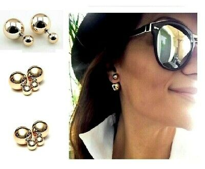 Superb Women Double Sided Pearl Studs Rose Gold Earrings Celebrity - UK Free P&P
