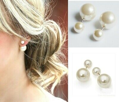 Women Double Sided Pearl Studs Ivory Cream Earrings Silver Tone Plated Gift HER