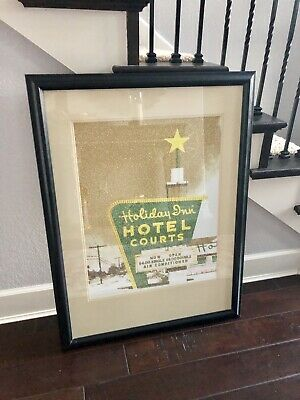 Holiday Inn Hotel Courts Vintage Picture Wall Frame  28 X 38 Rare Decor