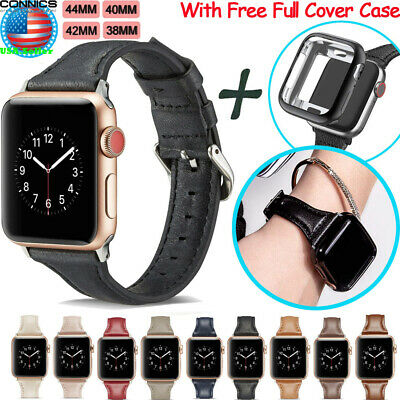38/42/40/44mm Luxury Leather iWatch Band Strap With Case For Apple Watch 5 4 3