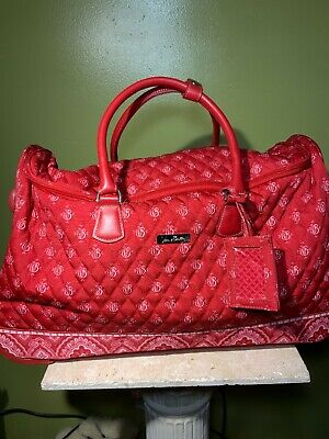 """Vera Bradley 22"""" Luggage Rolling Duffel in Nantucket Red Travel Carry-On Wheeled"""