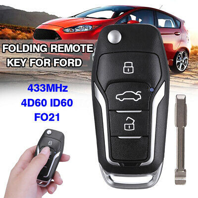 For Ford Focus Fiesta Transit Fiesta Remote Flip Key Fob 4D60 ID60 CHIP