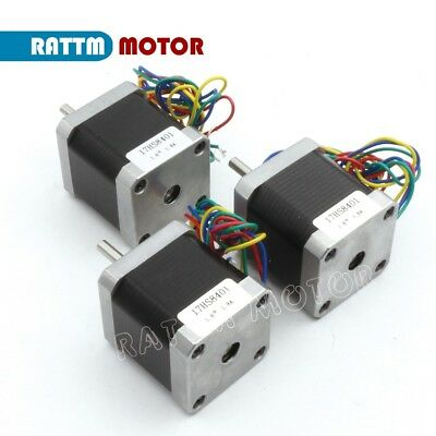 3 x Nema17 78Oz-in 48mm Stepper Motor 1.8° 4 Lead Wire for CNC Router/3D Printer