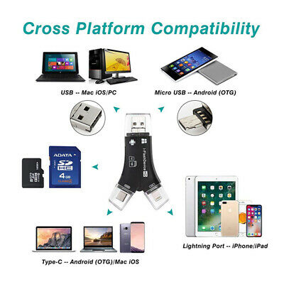 Hot USB 4 in 1 Card Reader Micro SD SDHC TF Flash Drive iPhone Android PC MAC