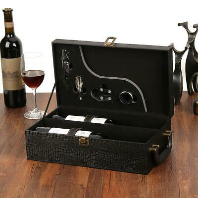 2 Bottle Wine Carrier Storage Box with Handle 4PCS Wine Accessory Set for Travel