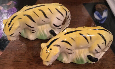 Vintage Tiger Salt & Pepper Shakers Japan