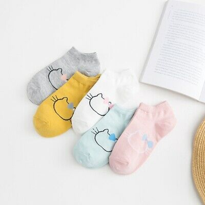 Girls Bow Tie Cat Low Cut Cartoon Cotton Boat Socks Invisible Socks Ankle Socks